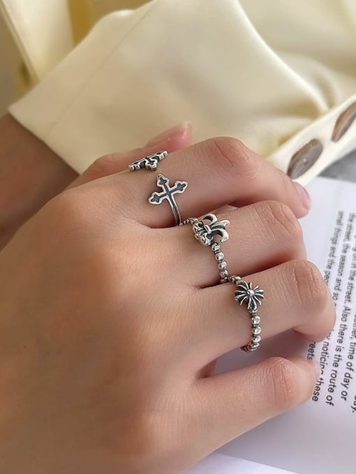Boomer Cat 925 Sterling Silver Cross Vintage Band Ring 2