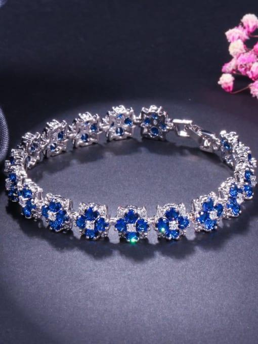 Sapphire blue Brass Cubic Zirconia Flower Dainty Bracelet
