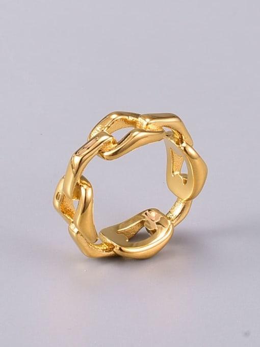 A TEEM Titanium Steel Hollow Geometric Vintage Band Ring