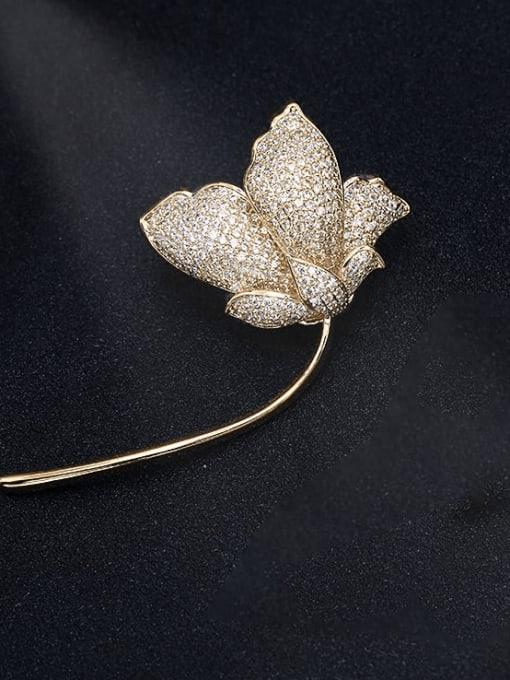 Luxu Brass Cubic Zirconia Flower Trend Brooch 4