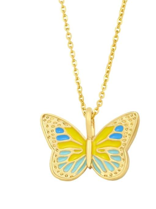 C (yellow) Brass Enamel Butterfly Minimalist Necklace