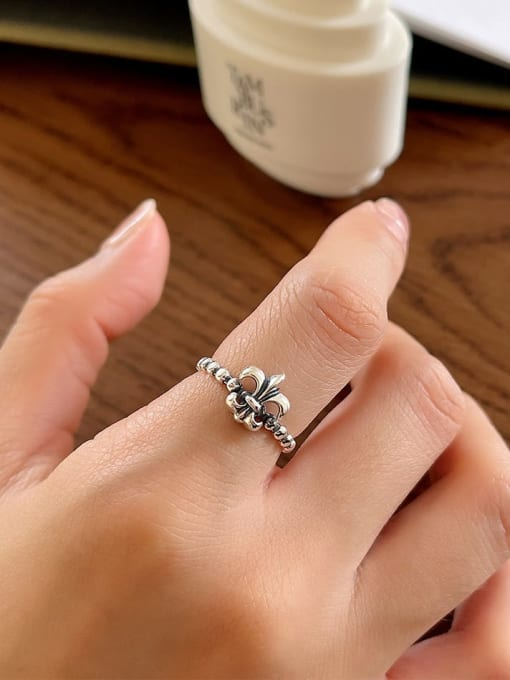 Cross ring J101 1.7g 925 Sterling Silver Cross Vintage Band Ring
