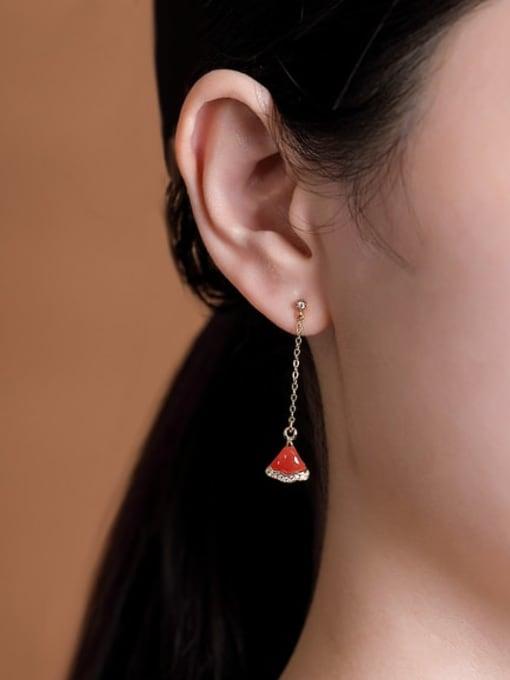 DEER 925 Sterling Silver Jade Irregular Vintage Drop Earring 1