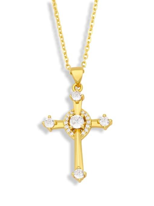 CC Brass Cubic Zirconia Cross Vintage Regligious Necklace 0