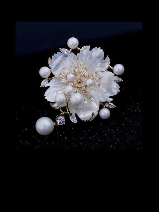 Luxu Brass Cubic Zirconia Flower Luxury Brooch 2