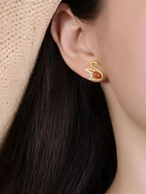 DEER 925 Sterling Silver Carnelian Swan Vintage Stud Earring 1