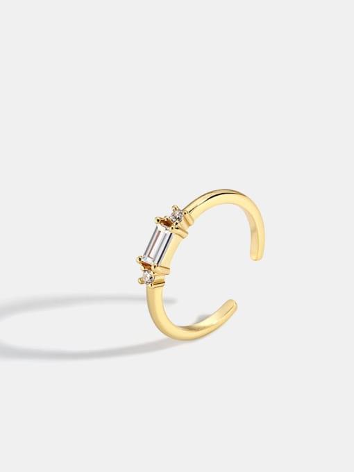 CHARME Brass Cubic Zirconia Geometric Minimalist Band Ring 0
