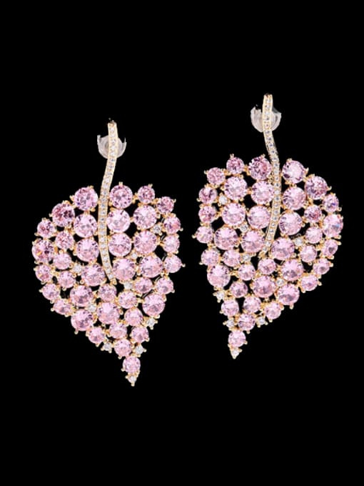 Pink Brass Cubic Zirconia Leaf Bohemia Stud Earring