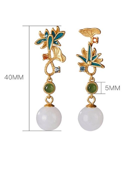 DEER 925 Sterling Silver Jade Enamel Flower Vintage Drop Earring 3
