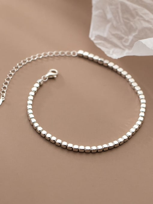 Rosh 925 Sterling Silver Geometric Minimalist Beaded Bracelet