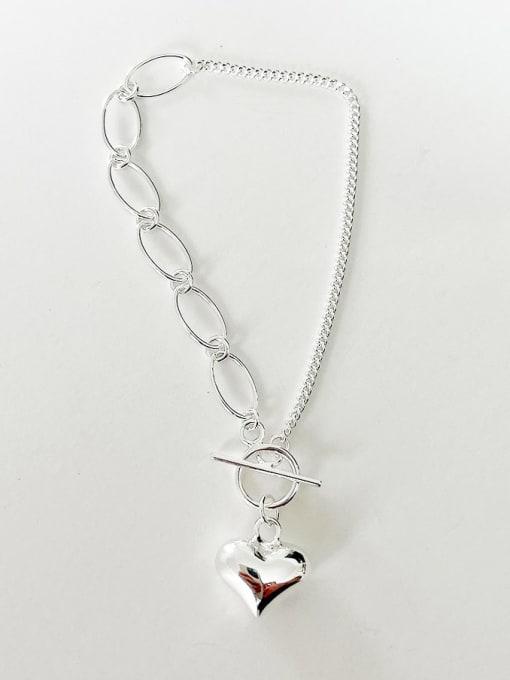 Boomer Cat 925 Sterling Silver Heart Minimalist Link Bracelet 2