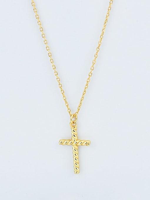 18K Gold 925 Sterling Silver Cross Minimalist Pendant Necklace