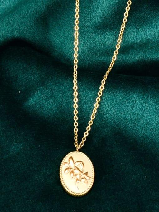 A TEEM Titanium Oval Flowers Minimalist  pendant Necklace 2