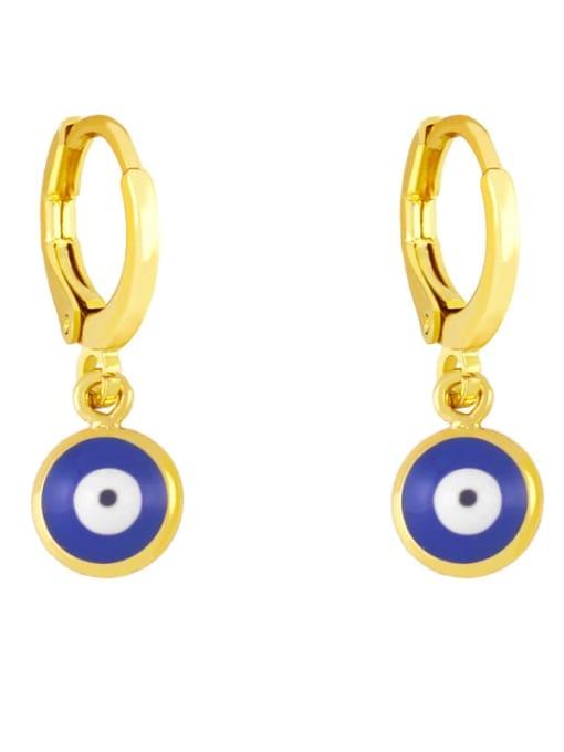 Dark blue Brass Enamel Evil Eye Minimalist Huggie Earring