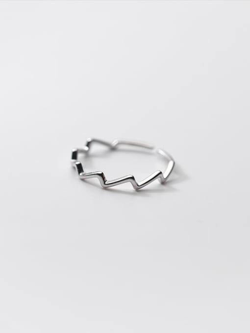 Rosh 925 Sterling Silver Irregular Line Minimalist Band Ring 2