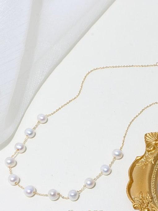 RAIN Brass Freshwater Pearl Geometric Minimalist Beaded Necklace 2