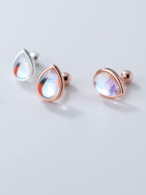 Rosh 925 Sterling Silver Opal Water Drop Minimalist Stud Earring 1
