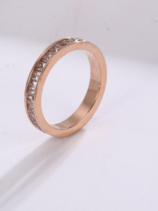MIYA Titanium Steel Rhinestone Round Minimalist Stackable Ring 1