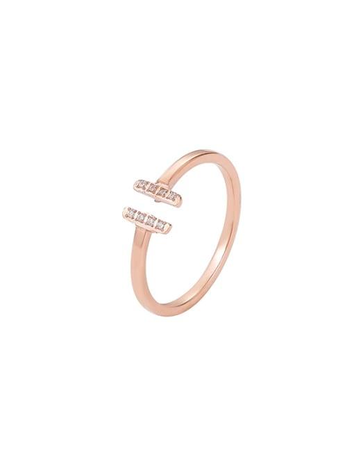 MIYA Titanium Steel Cubic Zirconia Geometric Minimalist Band Ring 0