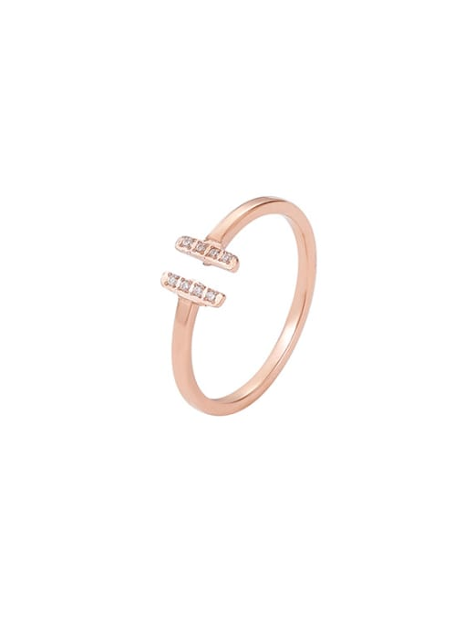 MIYA Titanium Steel Cubic Zirconia Geometric Minimalist Band Ring