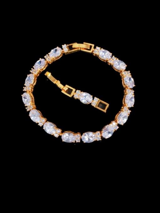 white Brass Cubic Zirconia Geometric Classic Bracelet