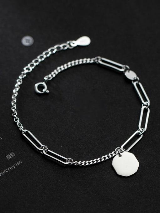 Rosh 925 Sterling Silver Hollow Geometric Minimalist Adjustable Bracelet 1
