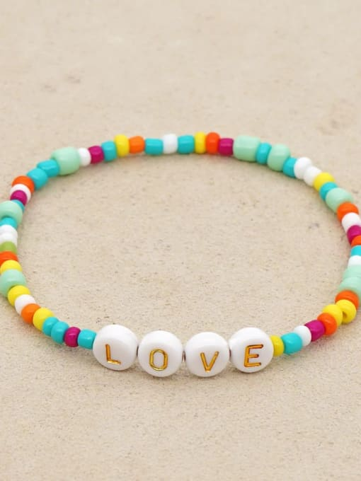 QT B200135A Stainless steel MGB Bead Multi Color Letter Bohemia Stretch Bracelet
