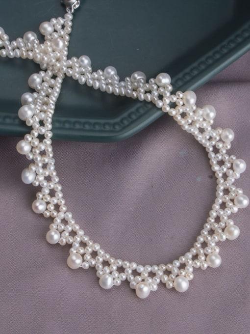RAIN Brass Freshwater Pearl Flower Vintage Choker Necklace 3