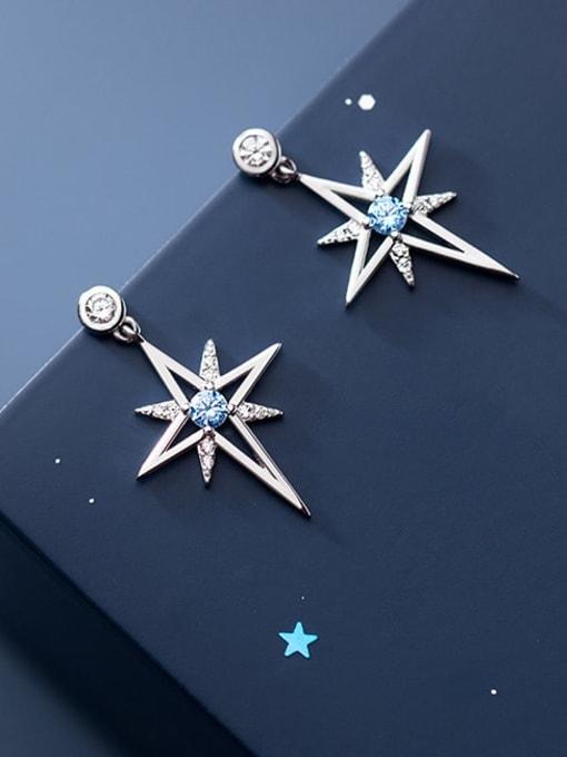 Rosh 925 Sterling Silver Cubic Zirconia Star Minimalist Drop Earring