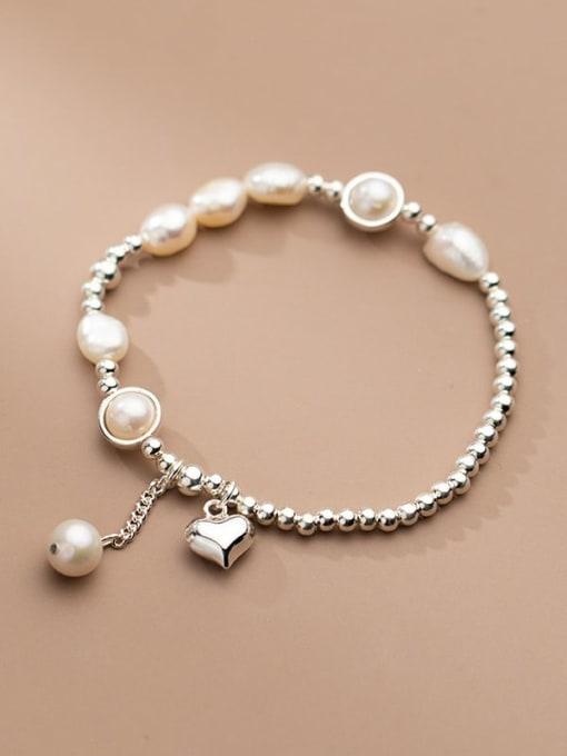 Rosh 925 Sterling Silver Freshwater Pearl Geometric Minimalist Stretch Bracelet 2
