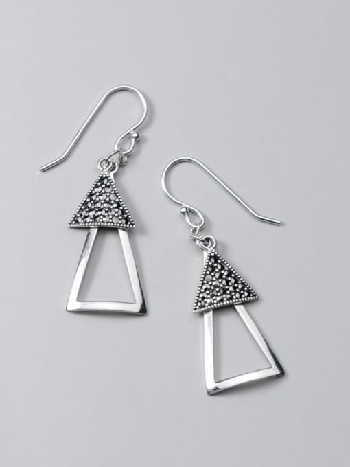 Rosh 925 Sterling Silver Retro Geometric Triangle  Vintage Drop Earring 0