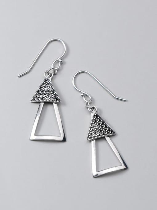 Rosh 925 Sterling Silver Retro Geometric Triangle  Vintage Drop Earring