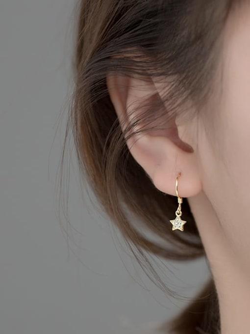 Rosh 925 Sterling Silver Cubic Zirconia Star Minimalist Hook Earring 1