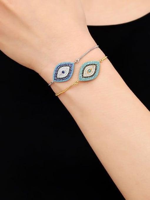 CC Brass Cubic Zirconia Evil Eye Bohemia Link Bracelet 1