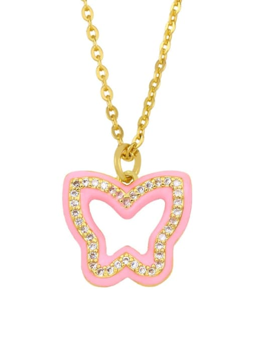 pink Brass Cubic Zirconia Hollow Butterfly Hip Hop Necklace