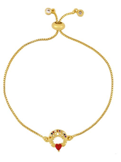 brc29 C Brass Cubic Zirconia Letter Vintage Adjustable Bracelet