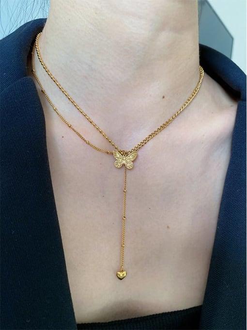 LI MUMU Titanium Steel Butterfly Vintage Lariat Necklace