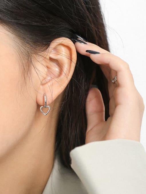 DAKA 925 Sterling Silver Smooth Heart Minimalist Huggie Earring 2