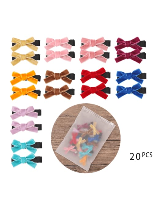 20 pieces in 12 frosted bags Alloy Fabric Cute Bowknot  Multi Color Hair Barrette