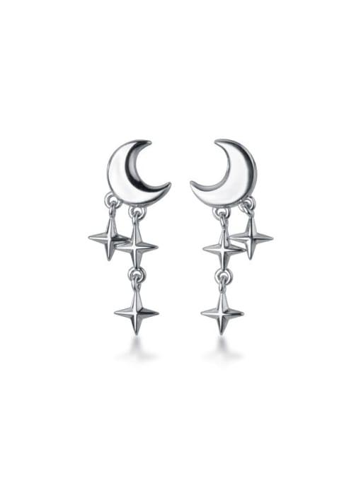 Rosh 925 Sterling Silver Moon Minimalist Cross Drop Earring 0