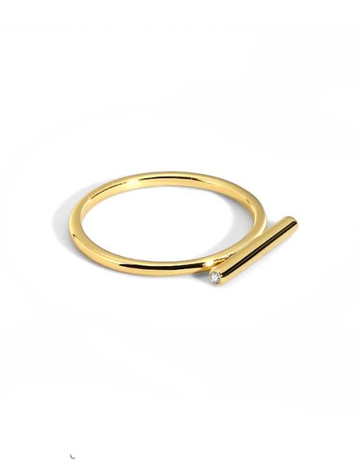 CHARME Brass Smooth Geometric Minimalist Band Ring 0