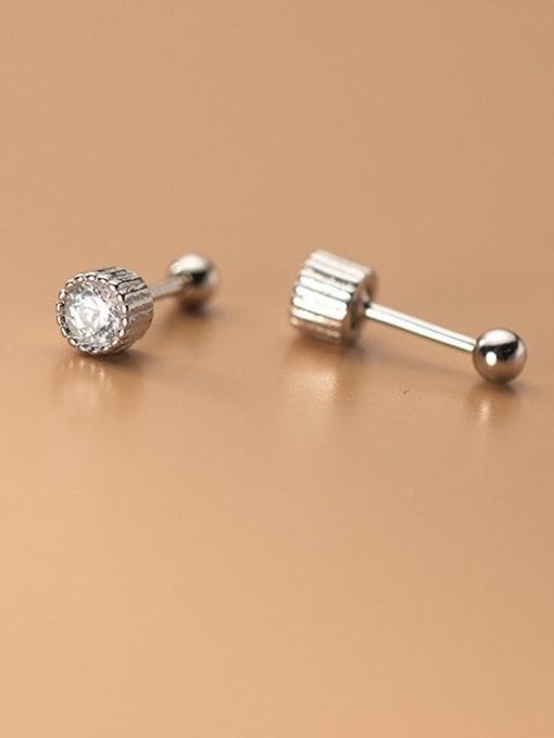 Rosh 925 Sterling Silver Rhinestone Round Minimalist Stud Earring