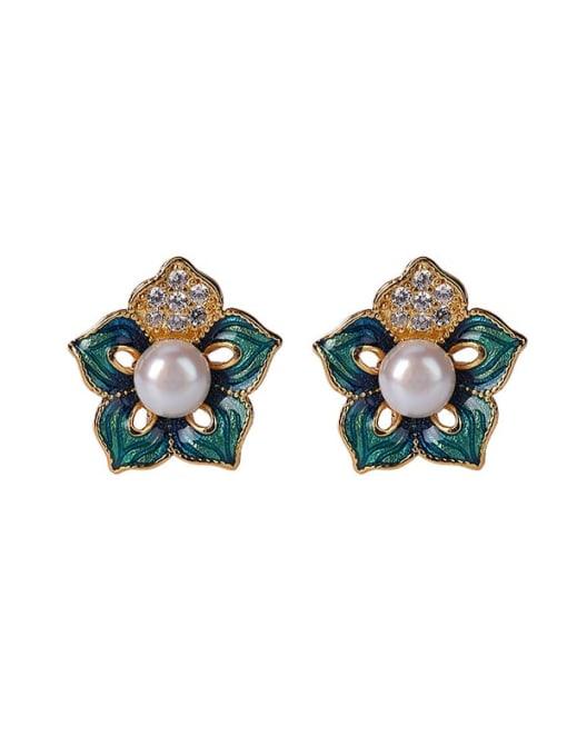 DEER 925 Sterling Silver Imitation Pearl Enamel Flower Vintage Stud Earring 2