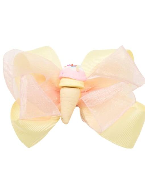 4 yellow ice cream Alloy  Fabric Cute Bowknot Multi Color Hair Barrette