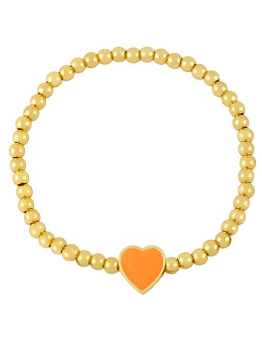 B (Orange) Brass Enamel Heart Minimalist Beaded Bracelet
