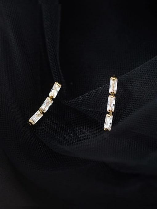 Rosh 925 Sterling Silver Cubic Zirconia Geometric Minimalist Drop Earring 3