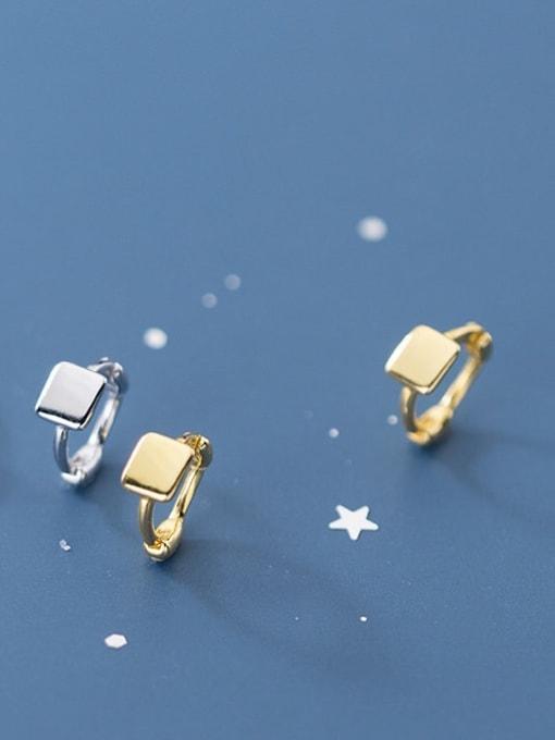 Rosh 925 Sterling Silver Geometric Minimalist Huggie Earring 1