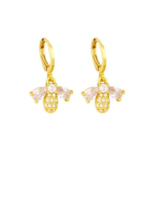 CC Brass Cubic Zirconia Bee Vintage Huggie Earring 2