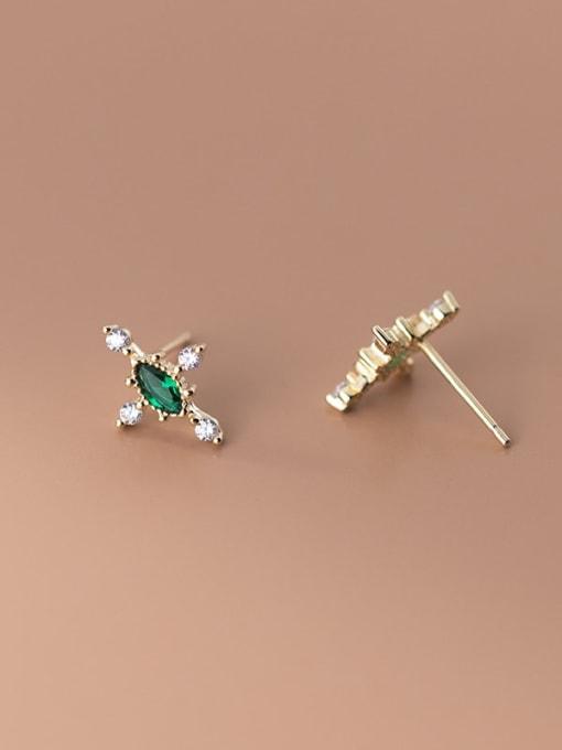 Rosh 925 Sterling Silver Cubic Zirconia Cross Minimalist Stud Earring 4
