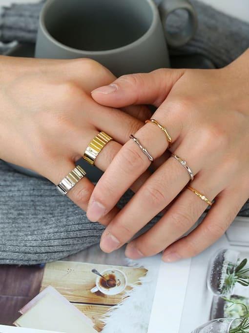 CHARME Brass Rhinestone Geometric Minimalist Band Ring 1